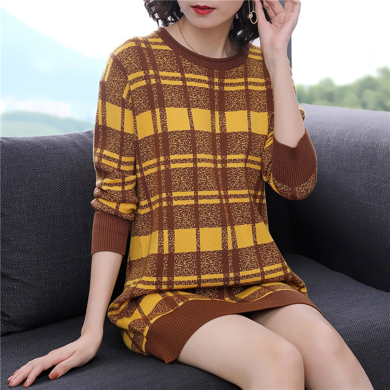 Femmes à manches longues col rond chandail bureau robe hiver 2019 lâche imprimer Plaid Vintage robe femmes contraste automne robes dames