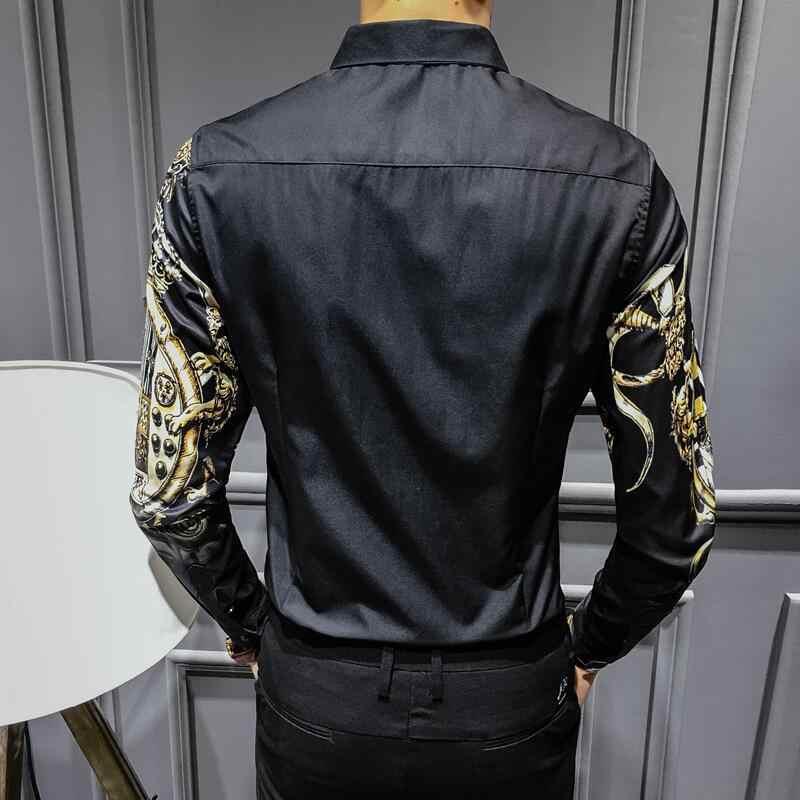 Camisa Negra dorada estampada nueva Camisa barroca delgada del Club de la marca de moda de los hombres Camisa de talla grande de los hombres de la impresión de la Corona 4XL Camisa Masculina