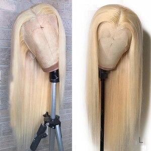 Perruque Lace Front Wig brésilienne naturelle lisse saphir   Blond miel 613, nœuds décolorés