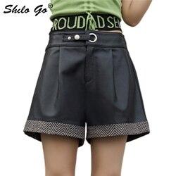 Echt Lederen Broek Kleur Blok Cut-en-Naaien Diamond Panel Knop Front Wide Been Shorts Vrouwen Herfst Casual highstreet Shorts