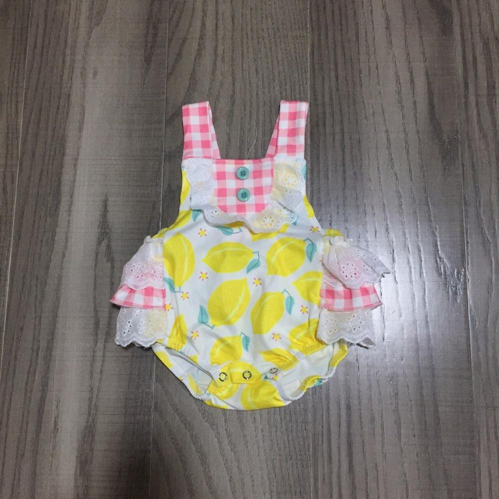 Baby Girls Summer Clothes Infant Baby's Plaid Romper With Lemon Print