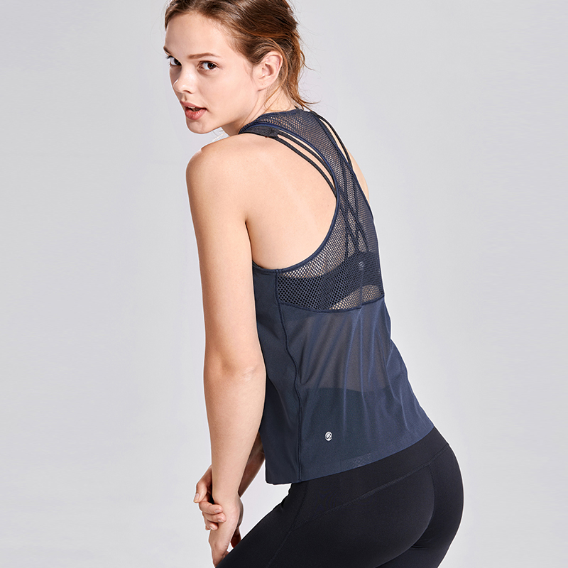 M L Women/'s Tank Top Quick Dry Black Mesh Yoga Active Gym Shirts Size: XS S