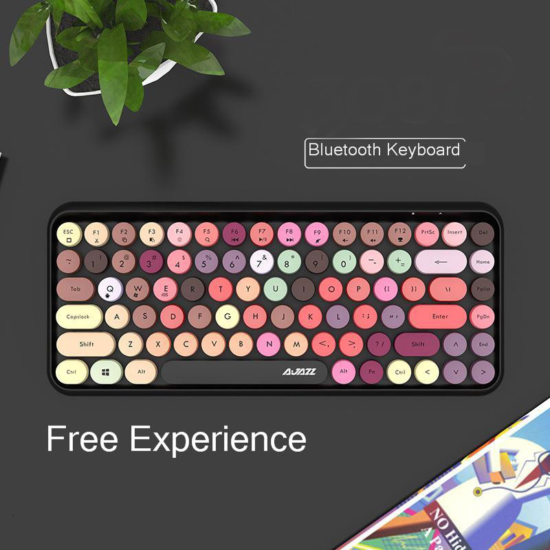 Image 2 - JellyComb Bluetooth Keyboard Retro Round Keycap Plastic Panel Colorful Border WaterproofMobile Phone KeyboardKeyboards   - AliExpress