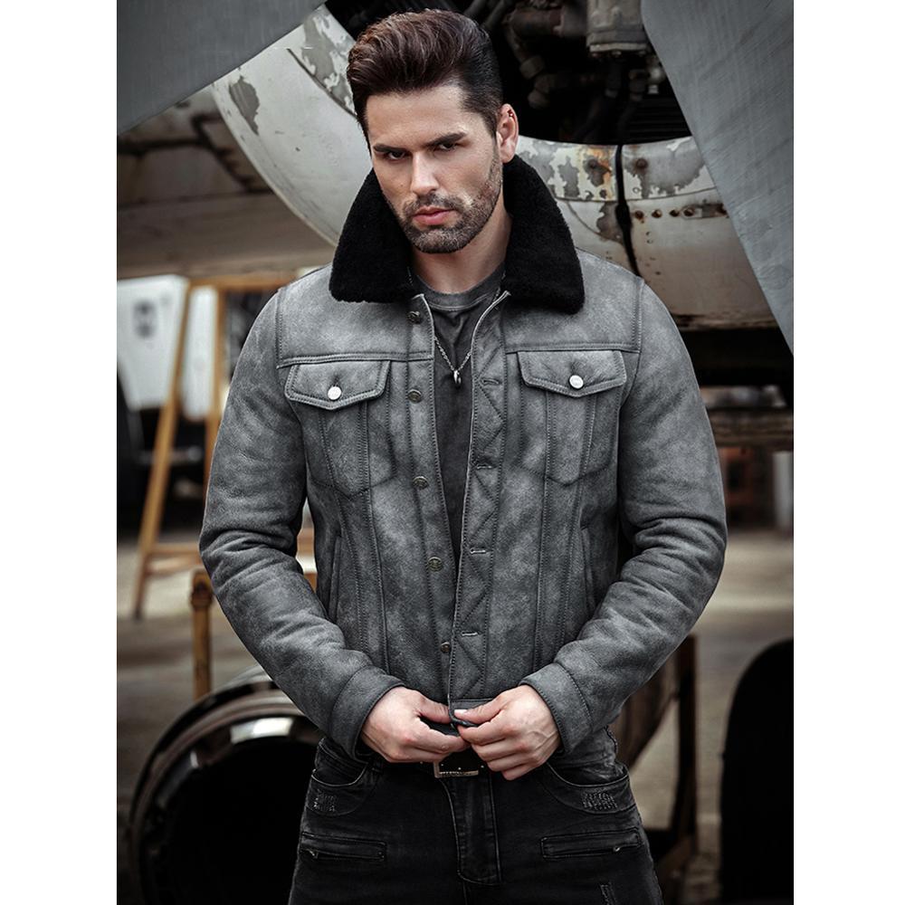 Mens Sheepskin Shearling Jacket B3 Flight Jacket Aviator Winter Coat Fur Bomber Leather Jacket Gray Denim Jacket