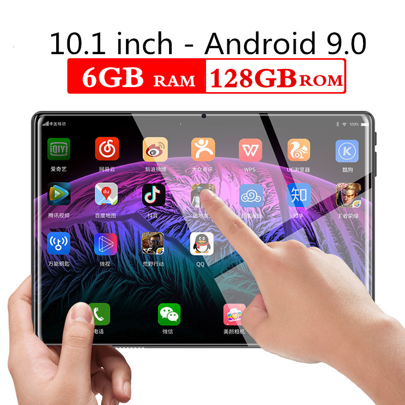 2.5D Screen 10.1 Inch Tablets Android 9.0 Octa Core Tablet PC 6GB RAM 128GB ROM 8MP WIFI 3G 4G LTE Dual SIM Card GPS FM Bluetooh