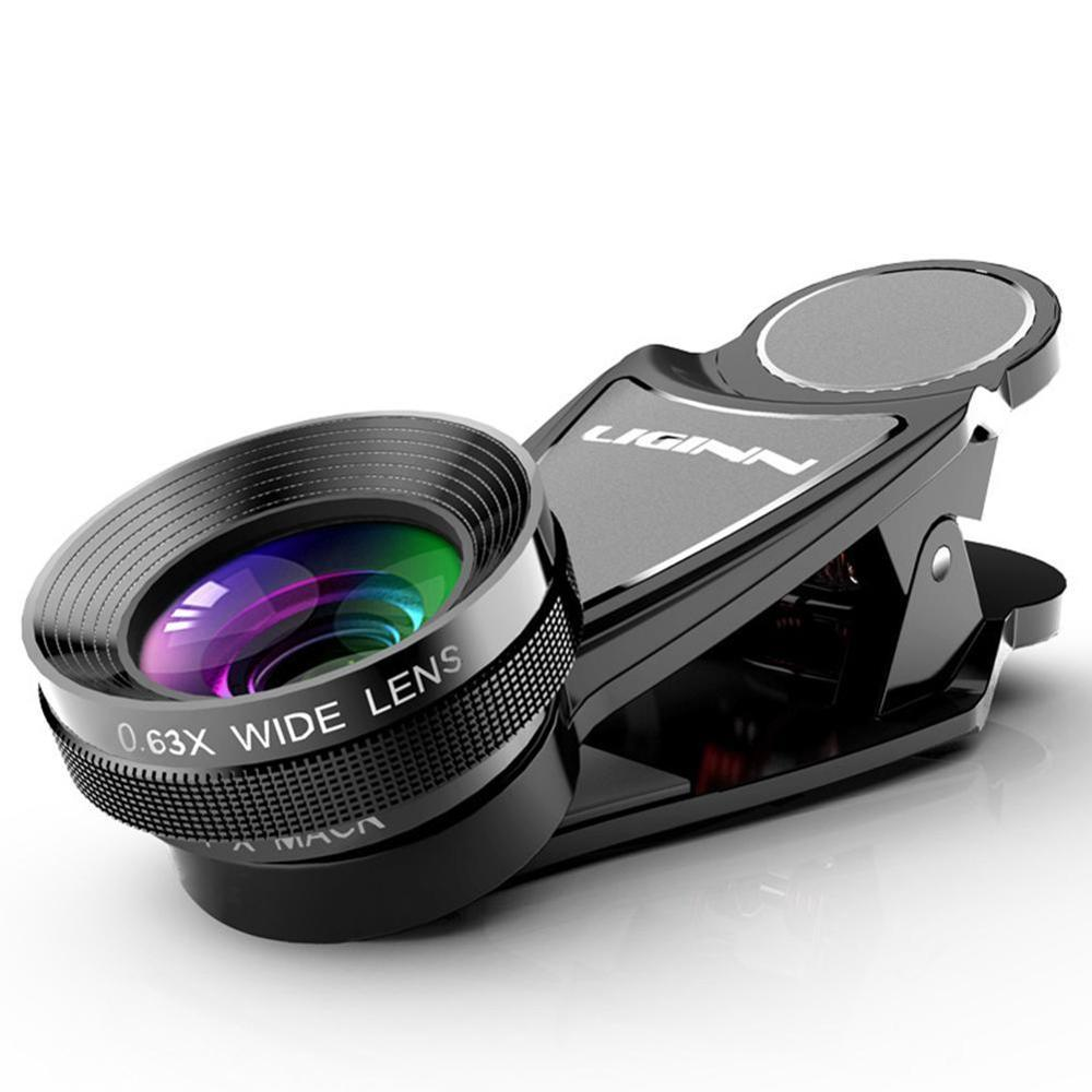 LIGINN 0.63X Wide-Angle +15X Macro Two-In-One Universal External Mobile Phone Photography Camera Lens Universal Microscope
