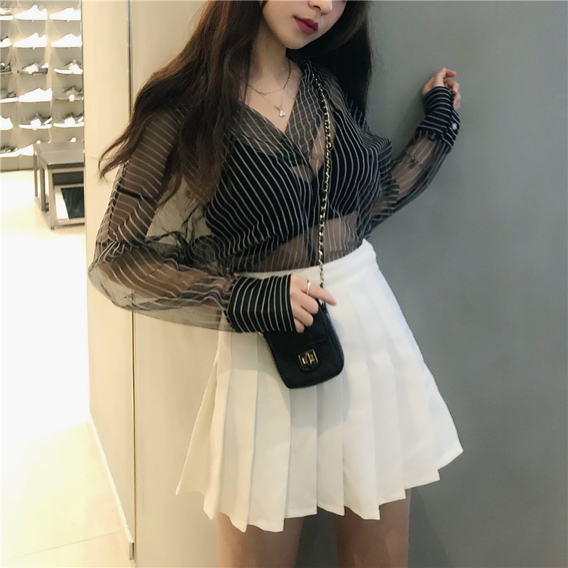 Chic transparent blouses women long sleeve Sexy ladies tops blouses vintage stripe shirts chemisier femme blusas in Blouses amp Shirts from Women 39 s Clothing