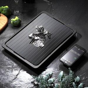 Алюминиевая тарелка для разморозки замороженного мяса, тарелка для разморозки, лоток для быстрого разморозки с силиконовой щеткой, инструм...