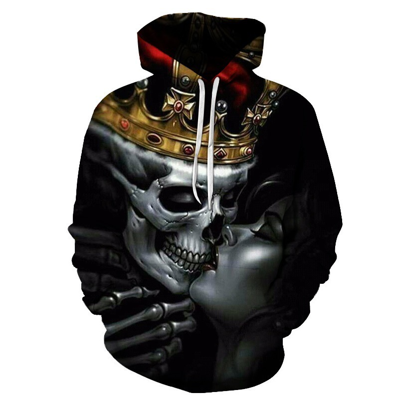 Cross Border AliExpress Hot Selling New Products 3D Digital Printing Kissing Skull Hoodie Couples Baseball Uniform