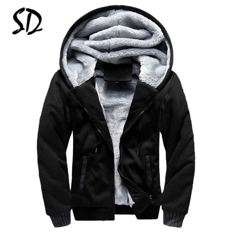 M-5XL Winter Thick Hoodies Men Zipper Hooded Coat Brand Men Tracksuit Sweatshirt Patchwork Jackets Warm Fleece Hoody Streetwear