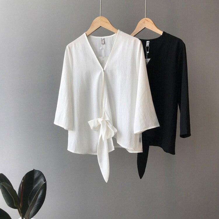 Рубашка женская 2019 Осенняя новая рубашка дизайн чувство рубашка Крест Пряжка галстук рубашка женская рубашка для путешествий