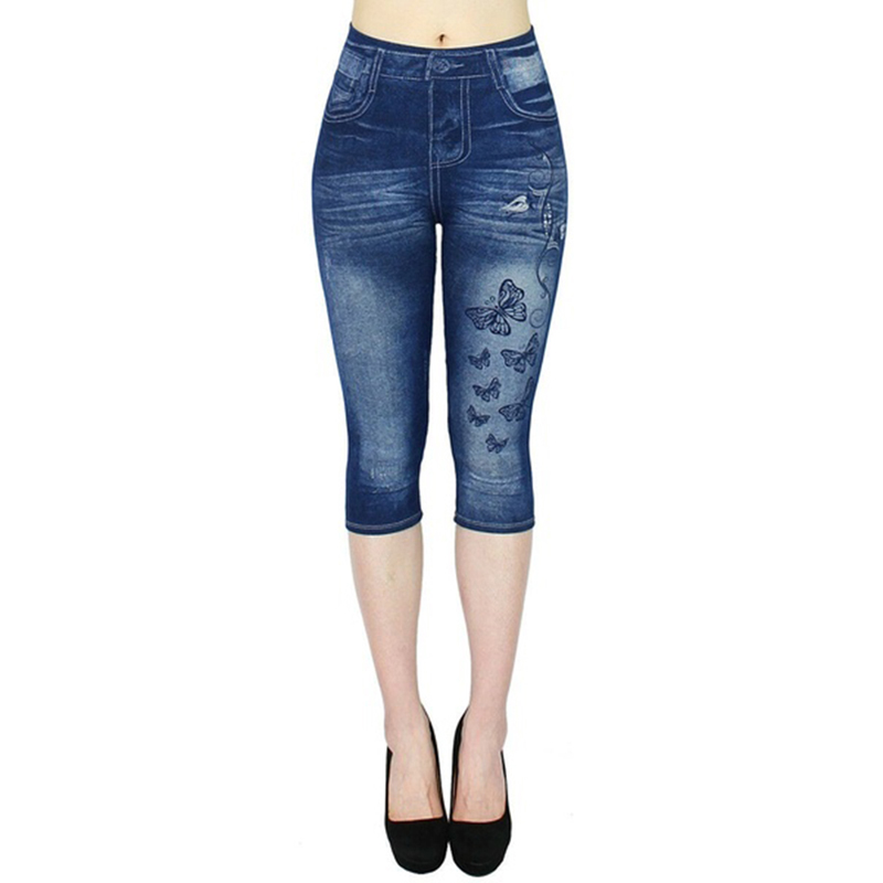 2019 Women 39 s Leggings Jeans high Waist Printed Outwears casual half length Printed Stretch CapriPants Autumn hot fitness trouser in Leggings from Women 39 s Clothing