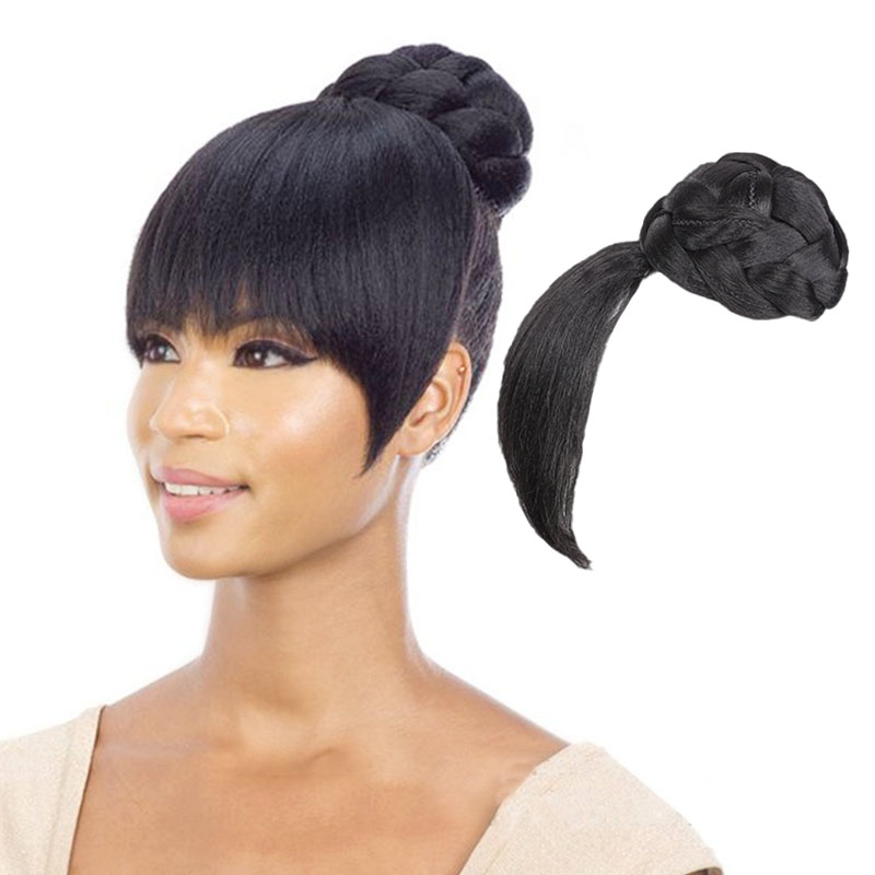 Fake Hair Bangs Extension Clip In On Synthetic Hair Bun Chignon Hairpiece For Women Drawstring Ponytail Updo Hair Accessories