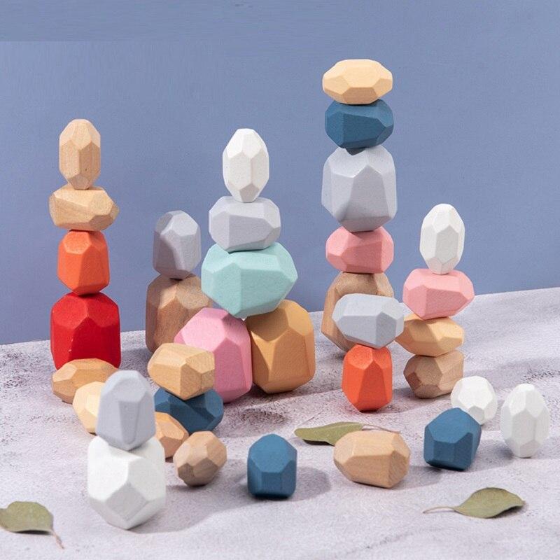 Creative Nordic Style Stacking Game Wooden Rainbow Stones Set Balancing Blocks Block Natural Wood Toy Educational Montessori Toy