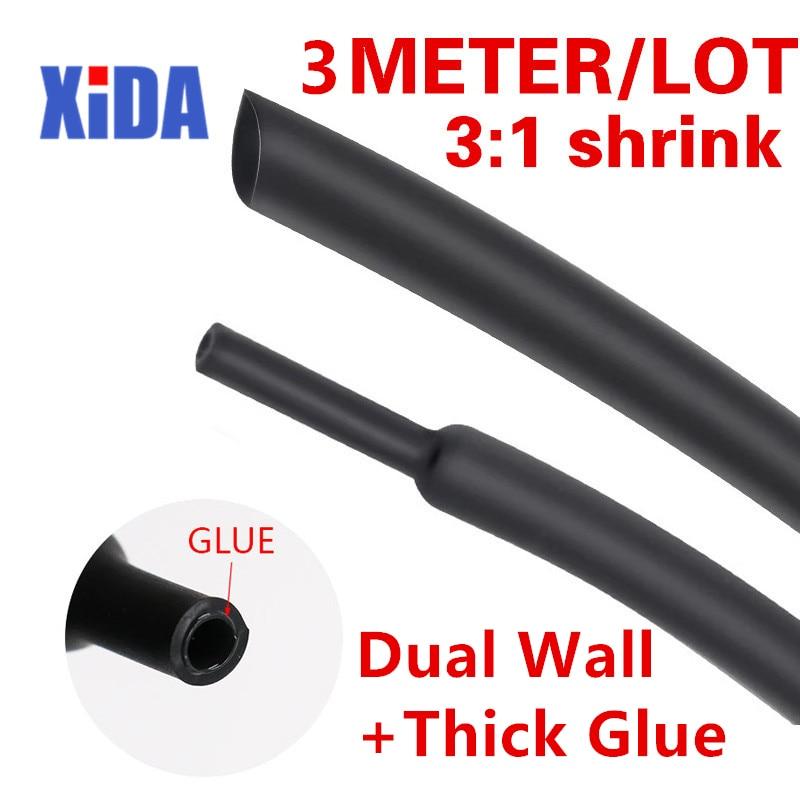 3 Mt/los 31 Schrumpf Schlauch mit Kleber Dual Wand Schläuche Durchmesser 1.6/2.4/3.2/4.8/6.4/7.9/9.5/12,7mm Klebstoff Gefüttert Hülse Wrap