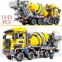 City vehicle Concrete truck Compatible Legoing technic Kran Bagger Construction Moc Engineering Model Building Bricks Blocks toy