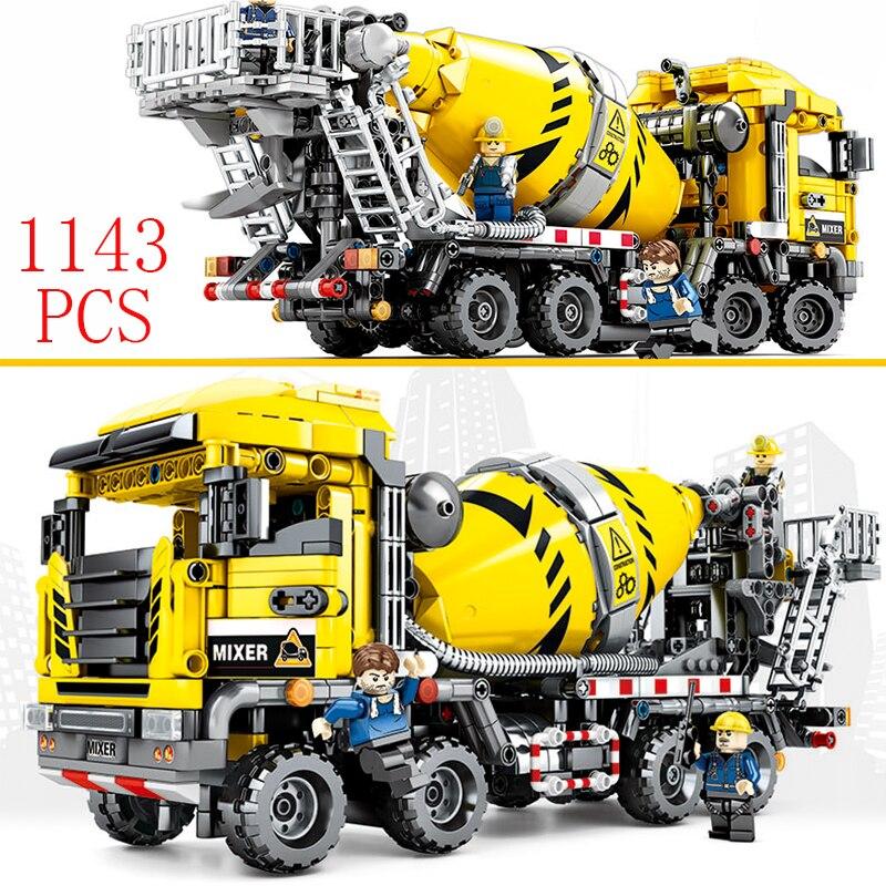 Городской автомобиль бетонный грузовик Совместимость Legoing technic Kran Bagger строительство Moc Инженерная модель Строительные кирпичи блоки игрушки