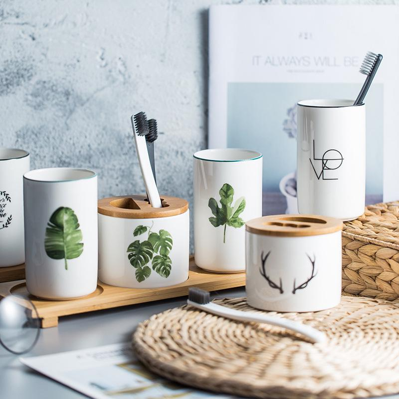 Succulent Plants Printed Ceramic Bathroom Set Toothbrush Holder Couple Toothpaste Cup Holder with Bamboo Tray Toiletries Set