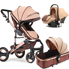 Luxury Multifunctional 2 in 1 Baby Stroller Portable High Landscape Gold Black Baby Carriage Folding Newborn Infant Stroller european high profile baby carriage 2 in 1 dual use baby stroller luxury umbrella cart