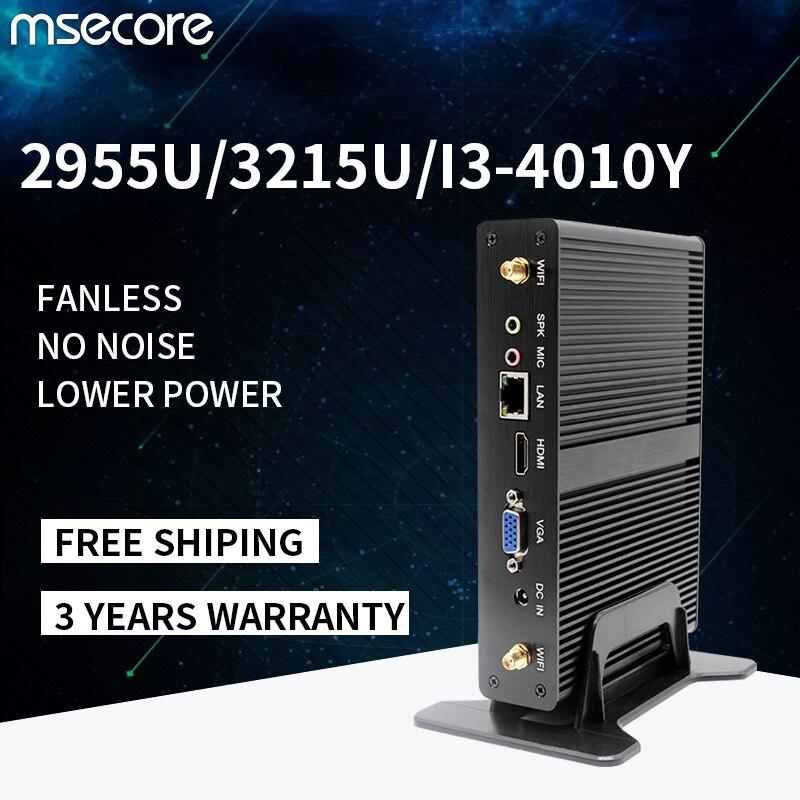MSECORE безвентиляторный Intel 2955U 3125U I3-4020Y Мини ПК Windows 10 Linux настольный компьютер barebone неттоп HTPC HDMI VGA 300M WiFi