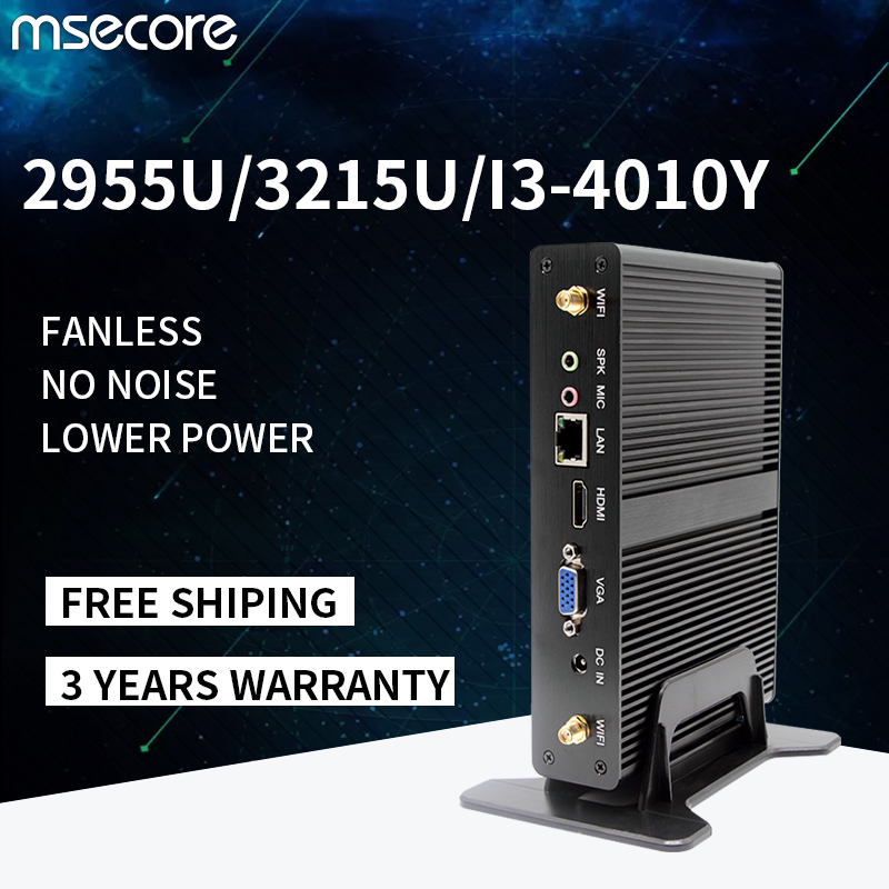 MSECORE Fanless Intel 2955U 3125U I3-4020Y Mini PC Windows 10 Linux Desktop Computer Barebone Nettop HTPC HDMI VGA 300M WiFi