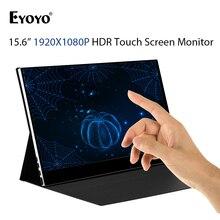 Eyoyo EM15T شاشة 15.6 بوصة تعمل باللمس شاشة محمولة رفيعة 1080P IPS FHD USB نوع C عرض لأجهزة الكمبيوتر المحمول الهاتف XBOX التبديل PS4 مع حافظة