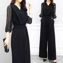 2019 Summer Women V-neck Chiffon Jumpsuits Elegant Ladies Black Party Wide Leg Jumpsuits DF528(China)