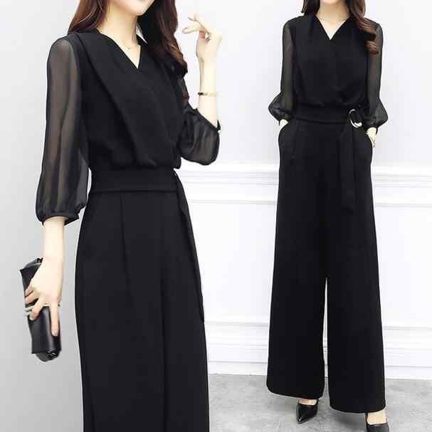 2019 Summer Women V-neck Chiffon Jumpsuits Elegant Ladies Black Party Wide Leg Jumpsuits DF528