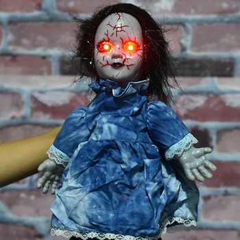 Halloween Props Ghost Doll Electric Walking Doll Toys With Shinning Eyes For Horror Halloween Decoration Party Kids Gift 34cm creepy halloween ghost props electric voice ghost doll toys horror halloween haunted house decoration party suppies kids gift