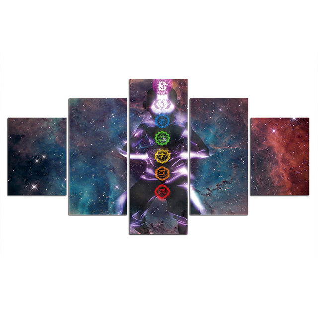 Canvas Painting 7 chakras 5 Piece Picture Wall Art Prints Modular Cuadros Póster Home Decor