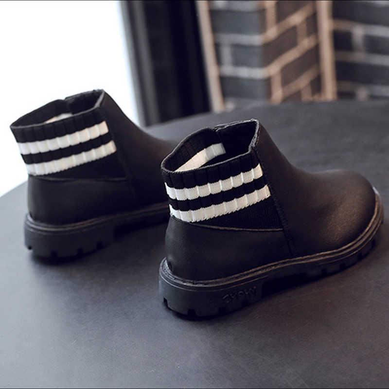 Mädchen Kleid Stiefel Wasserdicht Kinder Schuhe Samt Leder Stiefel Kinder Mädchen Jungen Herbst Winter Ankle Turnschuhe Streifen Socken Schuhe