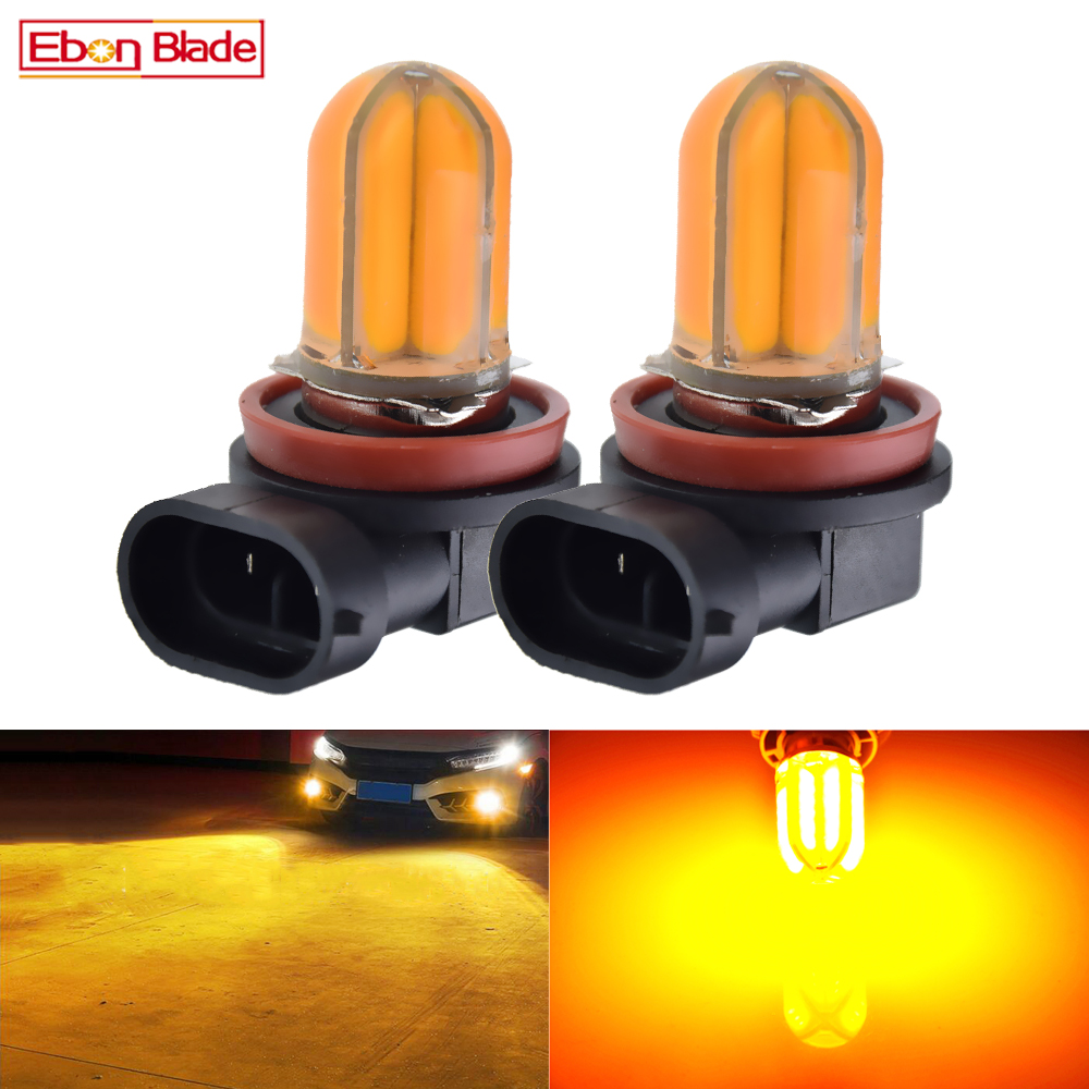 2Pcs Car LED Fog Light Bulb H8 H11 H16 JP Amber Yellow Orange Silicone Shell COB 48 SMD Auto Foglight Driving Lights Lamp 12V DC