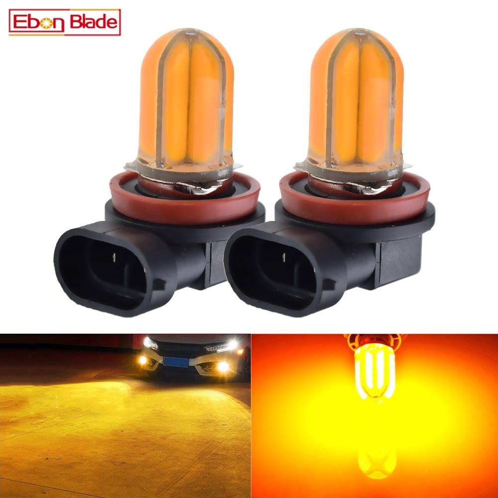 2Pcs Car LED Fog Light Bulb H8 H11 H16 JP Amber Yellow Orange Silicone Shell COB 48 SMD Auto Foglight Driving Lights Lamp 12V DC