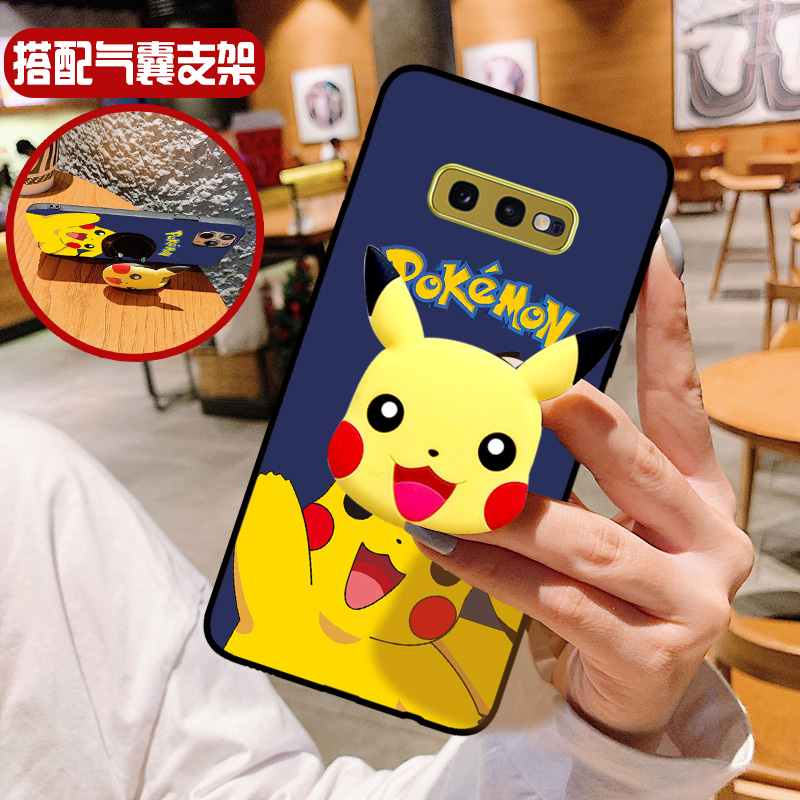 FOR <font><b>Samsung</b></font> Galaxy S6 <font><b>s7</b></font> s8 s9 s10 e edge plus <font><b>case</b></font> Mobile Shell Pokémon Cute Cartoon Silicone Stereo <font><b>Phone</b></font> Bag Holder support image
