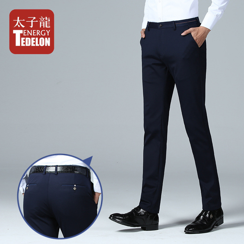 Tedelon New Style 2019 Autumn Youth Men Four Sides Elasticity Casual Pants Straight Slim Korean-style Business Men's Trousers