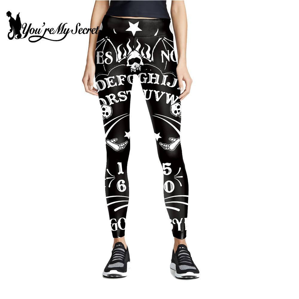 [You're My Secret] Witchcraft Women's Leggings Ouija Board Leggings Gothic Horror Pants Black Mid Waist Workout Leggins