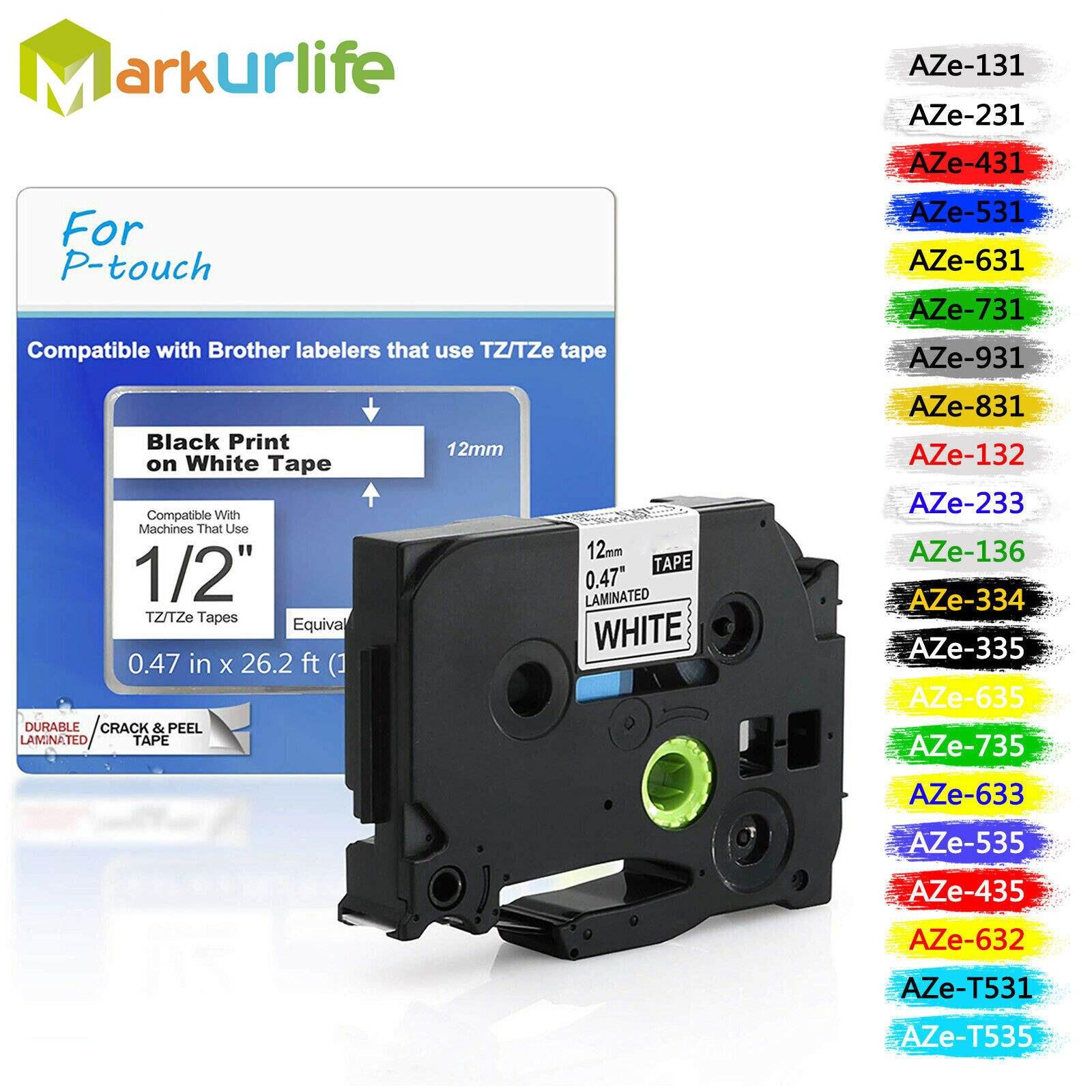 Лента для маркировки tze, совместимая с принтерами Brother P-touch, 31 цвет, Tze231, 12 мм, для Brother P Touch, Tze, Этикетировочная машина, PT, tz231, tze 231