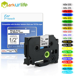 31 color tze Label Tape compatible Brother P-touch Printers Tze231 Tze-231 12mm for Brother P Touch Tze PT Labeler tz231 tze 231(China)
