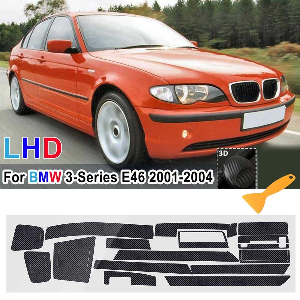 1 Set of Carbon fiber black Stickers for BMW 3 Series E46 2001 2004 Car Sticker Reflective Decoration Exterior Accessories