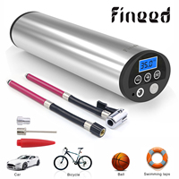 Fineed air compressor Mini electric air pump 150 PSI 12V Electric Auto Bicycle Pumps with Tyre Pressure Gauge Led light