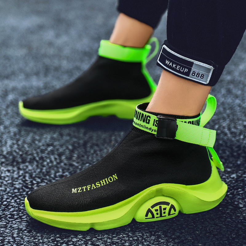 Image 4 - Fashion High Top Casual Shoes Men Breathable Flats Mens Casual Slip On Platform Shoes Men Sock Walking Footwear Man zapatos 2019-in Men's Casual Shoes from Shoes