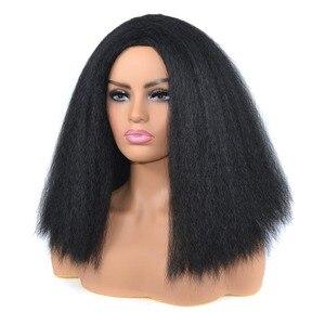 Image 5 - Amir uzun Yaki Kinky düz sentetik peruk afrika amerikan kadınlar için doğal siyah kahverengi Afro peruk ısıya dayanıklı iplik