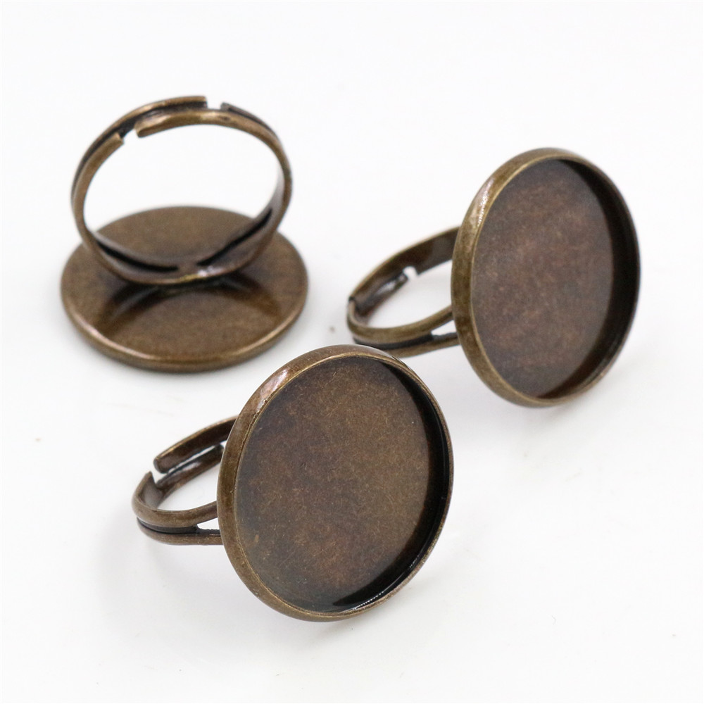 20mm 10pcs Antique Bronze Plated Brass Adjustable Ring Settings Blank/Base,Fit 20mm Glass Cabochons,Buttons;Ring Bezels -K3-10