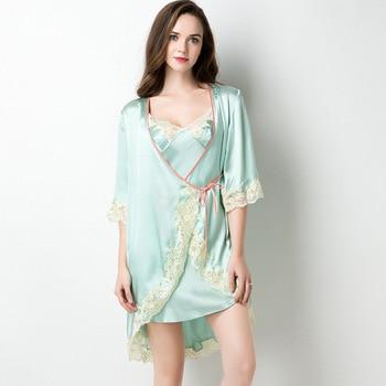 100% Bride Bridesmaid Wedding Robe Suit 2020 New Twinset Bathorbe Sexy Lace Trim Kimono Bath Gown Casual Loose Sleepwear Set