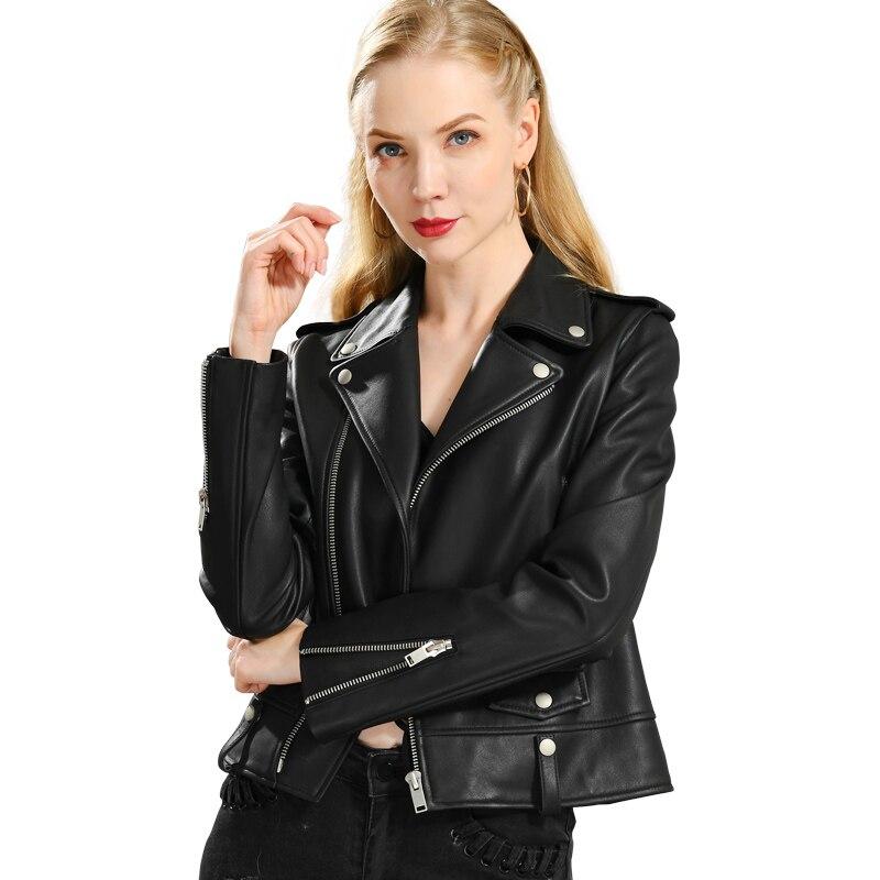 Biker Jacket Motorcycle Sheep-Leather Real-Sheepskin Coat Women Spring Rivet Female Fashion