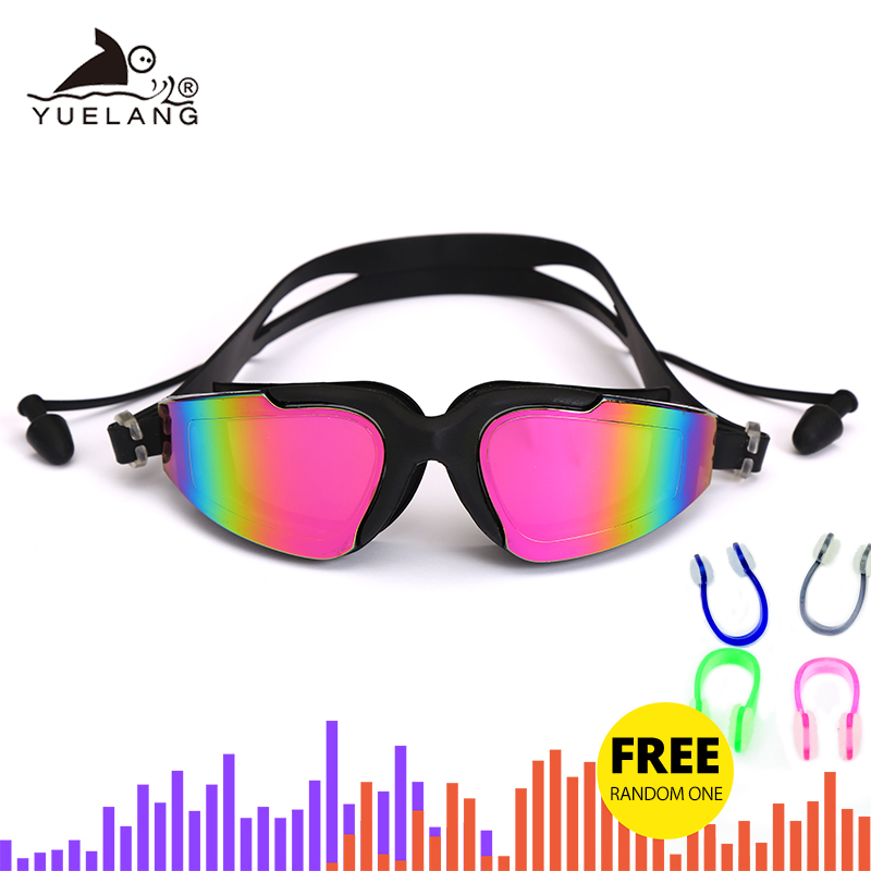 Silicone Professional Swimming Goggles Anti-fog UV Multicolor Swimming Glasses With Earplug Nose Clip Women Water Sports Eyewear