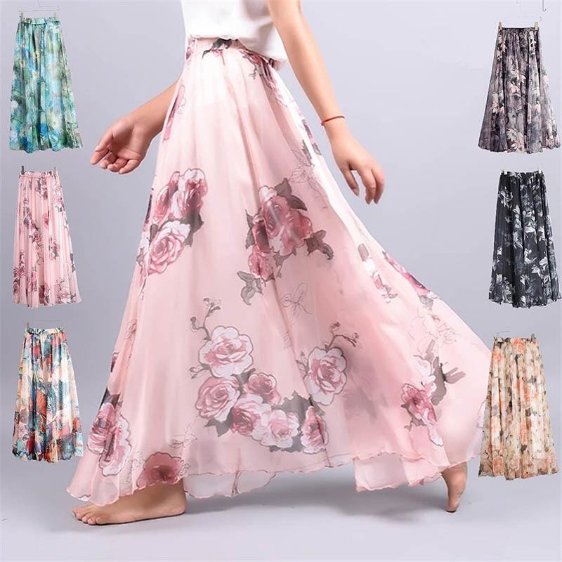Women Florals Print Long Skirt Female Bohemia Style Elastic High Waist Skirt Casual Chiffon Beach Skirts PT052