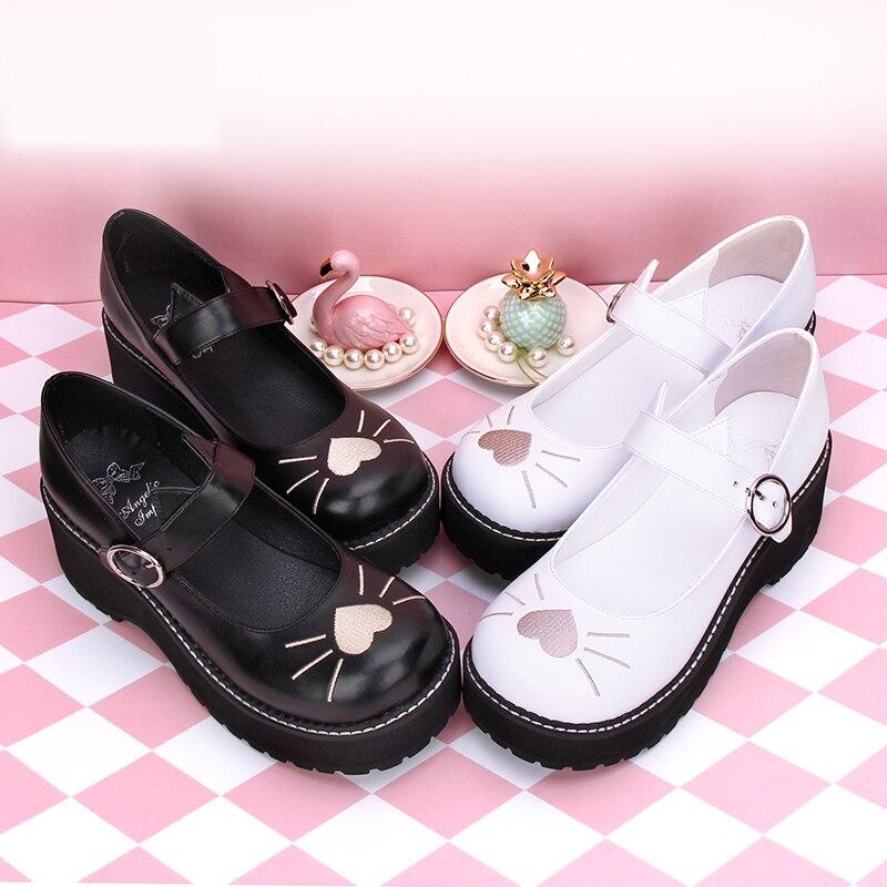 2019 dulce Lolita Cosplay rayas tacones altos bordado gato Mary Jane zapatos-in Zapatos de tacón de mujer from zapatos    1