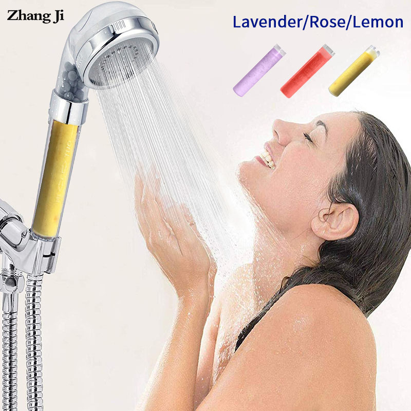 Zhangji lemon and lavender skin care shower head aroma replacement high pressure water saving showerheads with SPA anion balls