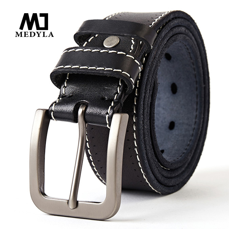 MEDYLA Genuine Leather Men High Quality Black Belt With Buckle For Jeans Leather Cowhide Casual Belts Business Re